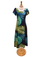 Hilo Hattie Monstera Palm Fronds Navy Rayon Hawaiian Tulip Sleeve Dress