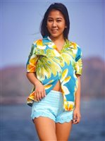 Paradise Found Plumeria Beauty Jade Rayon Women's Hawaiian Shirt