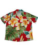 Paradise Found 45 Plumeria Beauty Red Rayon Women's Hawaiian Shirt