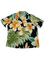 Paradise Found Plumeria Beauty Black Rayon Women's Hawaiian Shirt