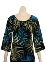 Hilo Hattie Palm Leaves Black Rayon Hawaiian Peasant Top 3/4 Sleeve