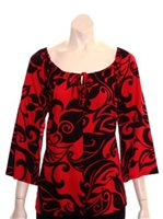Hilo Hattie Monstera Swirl Red & Black Rayon Hawaiian Peasant Top 3/4 Sleeve