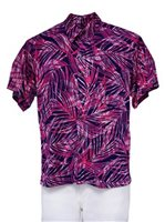 [Exclusive] Iolani Feathered Leaves Magenta Stretch Men's Knit Hawaiian Shirt
