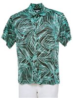 [Exclusive] Iolani Feathered Leaves Green Stretch Men's Knit Hawaiian Shirt