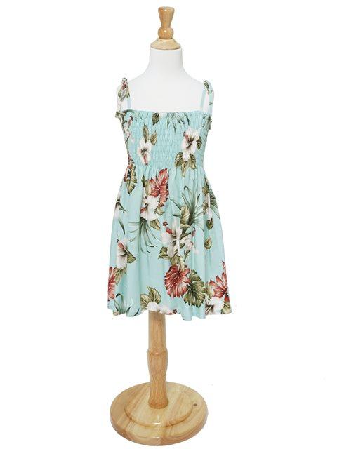 081e7e69c6a  Exclusive  Hibiscus   Monstera Light Blue Rayon Girls Hawaiian Elastic  Strap Tube Dress