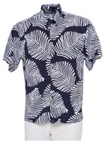 [Exclusive] Iolani Fern Navy&White Stretch Men's Knit Hawaiian Shirt