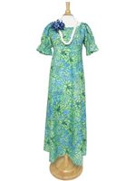 [Exclusive] Anuenue Plumeria Hibiscus Blue&Green Poly Cotton Hawaiian Long Muumuu Dress
