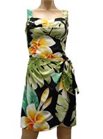 Paradise Found Plumeria Beauty Black Rayon Hawaiian Sarong Short Dress