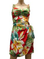 Paradise Found Plumeria Beauty Red Rayon Hawaiian Sarong Short Dress
