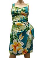 Paradise Found Plumeria Beauty Jade Rayon Hawaiian Sarong Short Dress