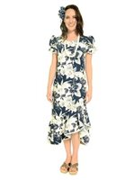 Two Palms Orchid Monstera Navy Cotton Hawaiian Long Muumuu Dress