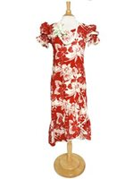 Two Palms Orchid Monstera Red Cotton Hawaiian Long Muumuu Dress