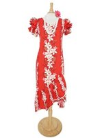 Two Palms Vintage Plumeria Red Cotton Hawaiian Long Muumuu Dress