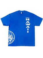 State of Hawaii  Blue Cotton Men's Hawaiian T-Shirt