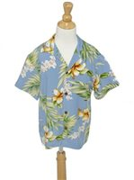 [Exclusive] Two Palms Tuberose Blue Rayon Boys Hawaiian Shirt