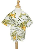 [Exclusive] Two Palms Napali White Rayon Boys Hawaiian Shirt