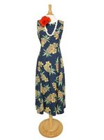 [Exclusive] Two Palms Hale Kahiki Navy Rayon Hawaiian Dress [40% OFF]