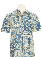 Hilo Hattie Tapa Box Blue Cotton Men's Hawaiian Shirt