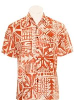 Hilo Hattie Tapa Box Coral Cotton Men's Hawaiian Shirt