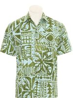 Hilo Hattie Tapa Box Olive Cotton Men's Hawaiian Shirt