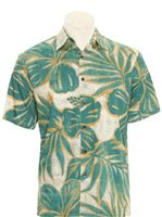 Hilo Hattie Hibiscus Mix Teal Cotton Men's Hawaiian Shirt