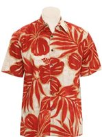 Hilo Hattie Hibiscus Mix Red Cotton Men's Hawaiian Shirt