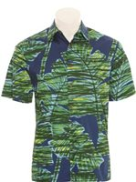 Hilo Hattie Mix Leaf Navy Cotton Men's Hawaiian Shirt