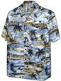 Pacific Legend Golf Blue Cotton Men's Hawaiian Shirt