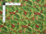 Monstera Palm Leaves Red Poly Cotton LW-16-509
