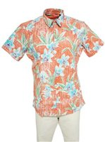 Tori Richard Ikebana Coral Cotton/Spandex Men's Hawaiian Shirt