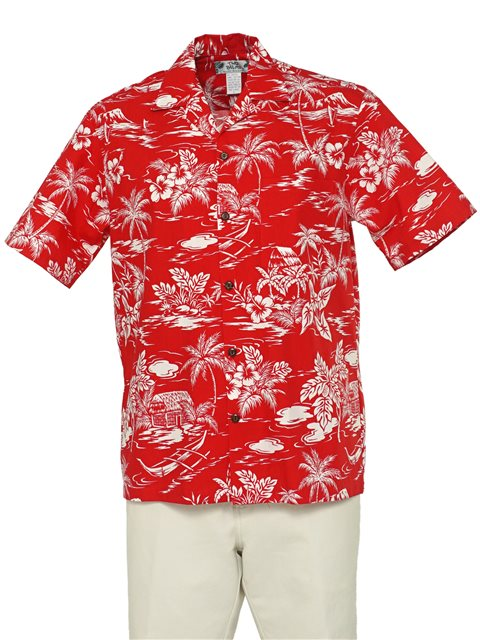 Love Shack Red Cotton Men's Hawaiian Shirt
