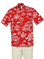 Two Palms Love Shack Red Cotton Men's Hawaiian Shirt