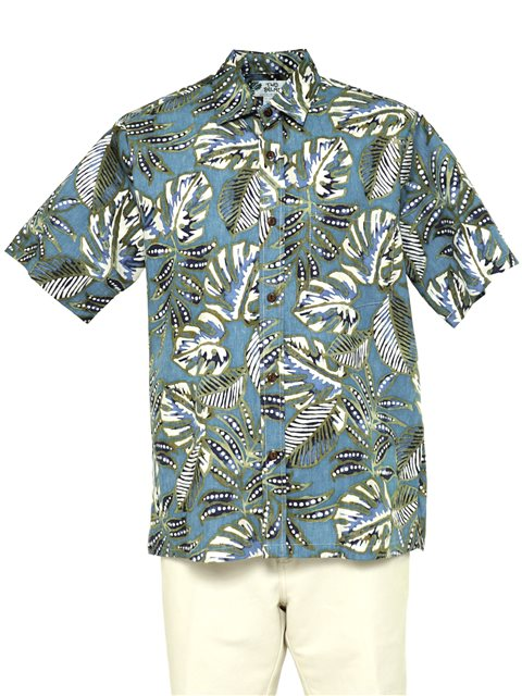 af749db9 Two Palms Leaf Pod Blue Cotton Men's Reverse Print Hawaiian Shirt ...