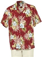 Two Palms Hibiscus Plumeria Fern Red Rayon Men's Hawaiian Shirt