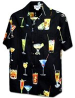 Pacific Legend Cocktail Black Cotton Men's Hawaiian Shirt