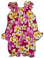 Pacific Legend Hibiscus Plumeria Pink Cotton Infant Girls Hawaiian Cabana Set