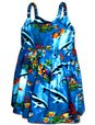 Pacific Legend Aquarium Blue Cotton Toddlers Hawaiian Bungee Dress