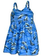 Pacific Legend Dolphin Blue Cotton Toddlers Hawaiian Bungee Dress
