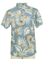 Hilo Hattie Palm Monstera Blue Polyester Men's Aloha Polo Shirt
