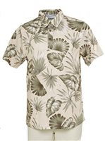 Hilo Hattie Palm Monstera Beige Polyester Men's Aloha Polo Shirt
