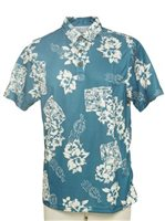 Hilo Hattie Floral Postcard  Blue Polyester Men's Aloha Polo Shirt