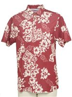 Hilo Hattie Floral Postcard  Red Polyester Men's Aloha Polo Shirt