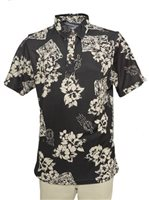 Hilo Hattie Floral Postcard  Black Polyester Men's Aloha Polo Shirt