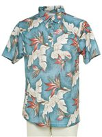 Hilo Hattie Bird of Paradise  Blue Polyester Men's Aloha Polo Shirt