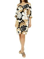 Hilo Hattie Maunakea Black&Tan Rayon Hawaiian Open Shoulder Short Dress