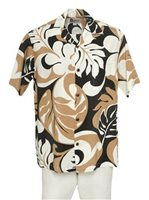 Hilo Hattie Maunakea Black&Tan Rayon Men's Hawaiian Shirt