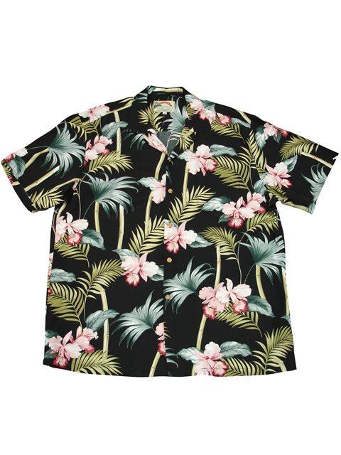 81b847d3 Paradise Found Orchid Bamboo Black Rayon Men's Hawaiian Shirt ...