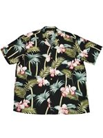 Paradise Found Orchid Bamboo Black Rayon Men's Hawaiian Shirt