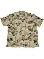 Paradise Found Orchid Bamboo Yellow Rayon Men's Hawaiian Shirt