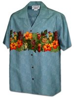 Pacific Legend Hibiscus Tiki Pineapple Blue Cotton Men's Border Hawaiian Shirt